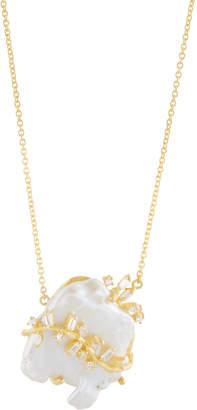 Indulgems Keshi Pearl & Crystal Vine Pendant Necklace