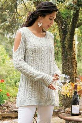 Soft Surroundings Cozy Cold Shoulder Sweater