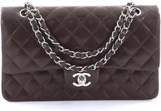 Chanel Double Flap Diamond Quilted Medium Dark Brown