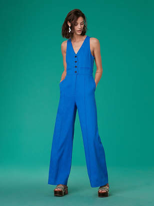 Diane von Furstenberg Sleeveless Button-Up Fitted Linen Jumpsuit