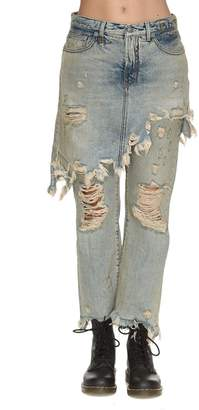 R 13 Double Classic Shredded Jeans