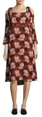 Ganni Monette Cold-Shoulder Georgette Dress