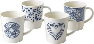 ED Ellen Degeneres Blue Love Set of 4 Mugs