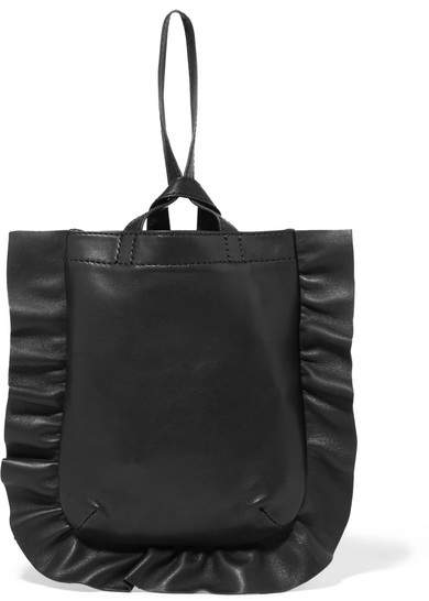 Loeffler Randall - Ruffled Leather Mini Wristlet Bag - Black