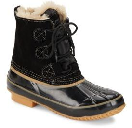 Faux Fur Lace-Up Boots $99 thestylecure.com