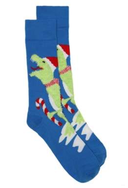 High Point Design Dinosaur Ugly Holiday Sweater Men's Crew Socks