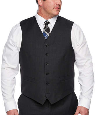 STAFFORD EXECUTIVE Stafford Executive Super100 Charcoal Grid Classic Fit Suit Vest - Big & Tall