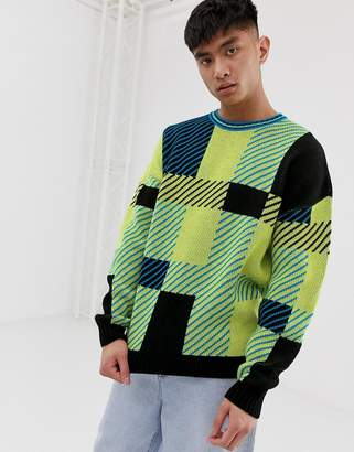 Asos Design DESIGN oversized knitted check jumper in yellow
