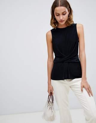 Warehouse sleeveless blouse with drape waist detail in black