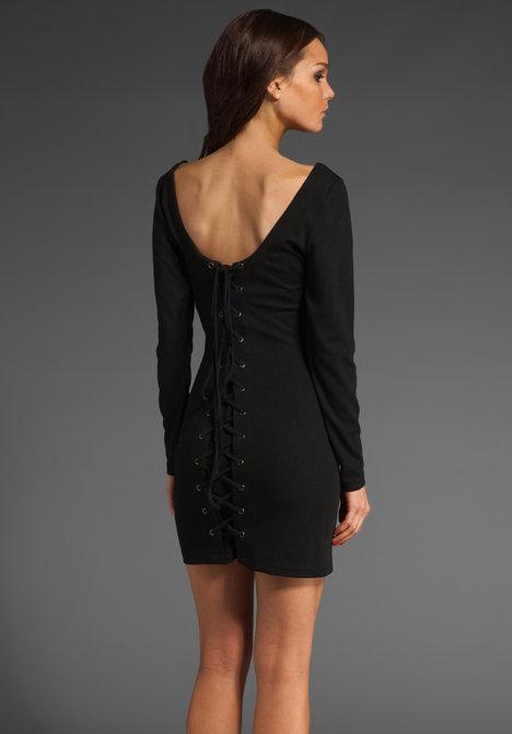 Barlow Ponte Long Sleeve Lace Back Mini