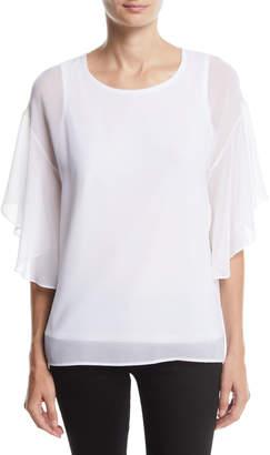 Modern American Designer Ruffle-Sleeve Chiffon Top w/ Knit Combo