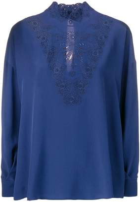 Fendi lace-detail fitted blouse