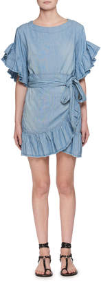 Etoile Isabel Marant Lelicia Round-Neck Wrap-Front Chambray Dress