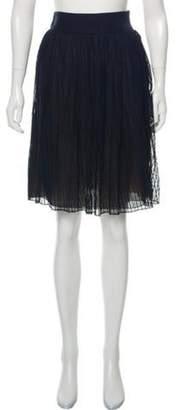 Akris Striped Knee-Length Skirt Navy Striped Knee-Length Skirt