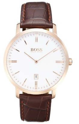 Boss Tradition Leather Strap Watch, 40Mm $245 thestylecure.com