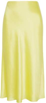 Vince Lemon Bias-cut Satin Midi Skirt