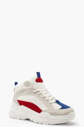 boohoo Colour Block Chunky High Top Sneakers