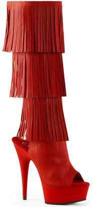 Pleaser USA DELIGHT-2019-3 Women's 3-Layer Fringe Open Toe/Heel Knee High Boot, Color RED FAUX LEATHER/RED MATTE, Size:8