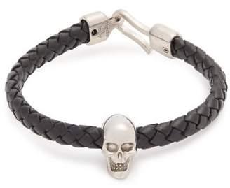 Alexander McQueen Skull Charm Leather Bracelet - Mens - Black