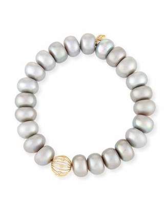 Sydney Evan 10mm Gray Pearl Button Bracelet with Diamond Bezel Ball Station