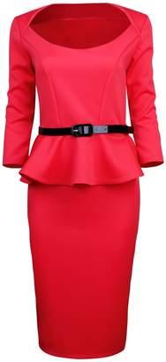 Toms Tom's Ware Womens Classic Long Sleeve Belted Peplum Midi Dress TWD6163-RED-L (US M)