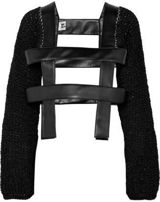 Noir Kei Ninomiya Faux Leather And Open-knit Sweater - Black