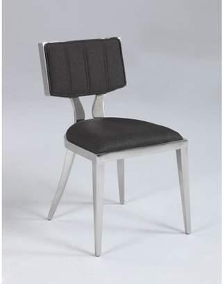 Bella Vita Mavis Midcentury Polished Stainless Steel Chair w/ Textured Fabric Seat in Grey