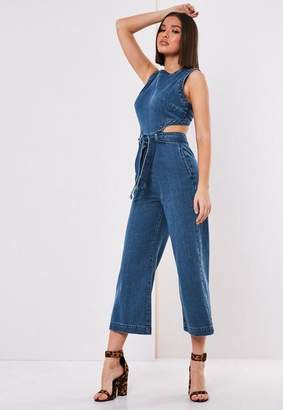 Missguided Blue Denim Cut Out Romper