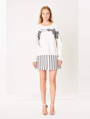 Oscar de la Renta Stripe Tweed Skirt