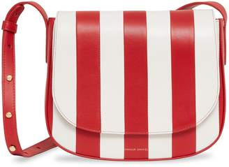 Mansur Gavriel Striped Lamb Crossbody - Flamma/White