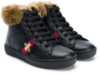 Gucci Kids shearling high top sneakers
