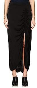Raquel Allegra Women's Ruched Charmeuse Midi-Skirt-Black