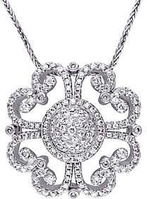Affinity Diamond Jewelry Vintage-Style Diamond Pendant, 14K, 1-1/4 cttw, by Affinity