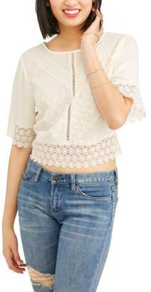 No Boundaries Juniors' Gauze Crochet Lace Trim Blouse