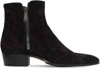 Balmain 40mm Double Zip-Up Suede Boots