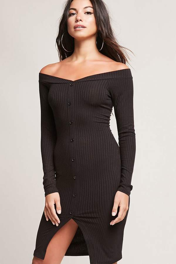 FOREVER 21 Ribbed Button-Down Dress