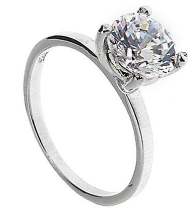 Stainless Steel Cubic Zirconia Classic Engagement Ring