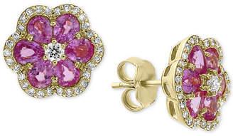 Effy Pink Sapphire (2-7/8 ct. t.w.) & Diamond (1/3 ct. t.w.) Flower Stud Earrings in 14k Gold