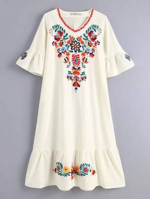 Shein Floral Embroidery Ruffle Hem Dress