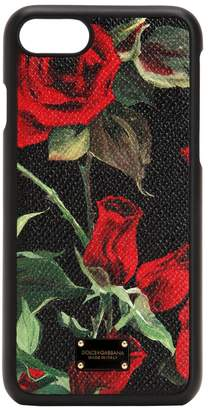 Dolce & Gabbana Rose Print Leather Iphone 8 Cover