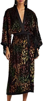 Saloni Women's Suki Leopard-Print Velvet Devoré Maxi Dress