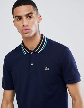Lacoste triple tipped polo in navy