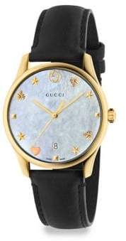Gucci G-Timeless Crystal& Leather Strap Analog Watch
