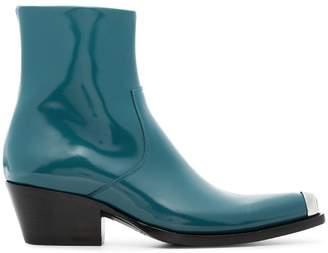 Calvin Klein Blue Tex Chiara 40 leather boots