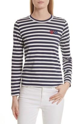 Women's Comme Des Garcons Play Double Heart Stripe Tee $128 thestylecure.com