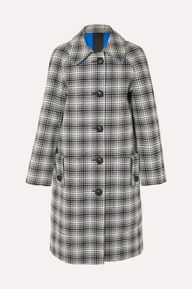 f6802cf92aa7f ... Burberry Checked Wool Coat - Black