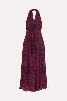 Philosophy di Lorenzo Serafini Striped Lurex Halterneck Gown - Purple