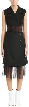 Maison Margiela Sleeveless Tulle Panel Blazer Dress Black Wool