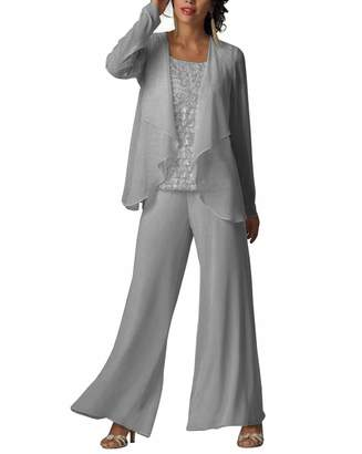 20e9b93ba702 LoveeToo Women s Formal 3 Pieces Chiffon Mother of Groom Pant Suits with  Outfit(Custom