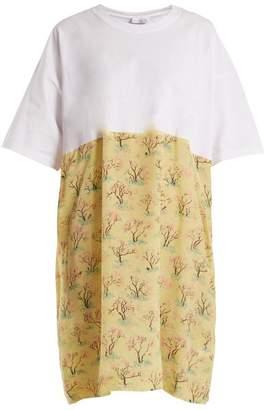 Raey Cotton And Acid Tree Print Silk T Shirt Dress - Womens - Green Multi